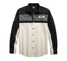 Beige Schwarz Herren Hemd XXL Harley-Davidson H-D Racing Long Sleeve Shirt Gr