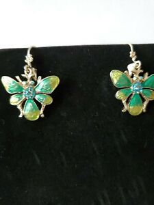 1928 jewelry earrings-- Blue and AB Crystals on Green and Yellow Enamel