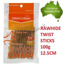 Natural Rawhide Chew Twist Sticks 100g Dog Treat Food Smokey Beef Pet NEW