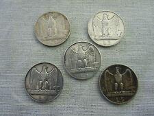COIN-FASCIST-DUX  5 LIRE SILVER COMPLET SET 1926-27-28-29-30 2 RARE COINS