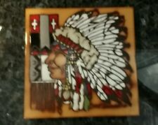 Vintage 1984 Hand Painted Tile Trivet CLEO TEISSEDRE Native American Head Dress