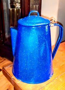 VTG Enamelware Speckled Cobalt Blue Coffee Pot Little House on the Prairie Prop