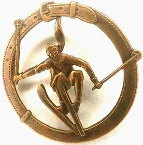 "Vintage Skier Button, Stamped & Pierced Brass w/ Belt Frame by F Strobel, 1 7/8"""