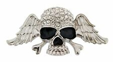 Men Skull Belt Buckle Silver Rhinestone Metal Fashion Gothic Tribal Tattoo Goth