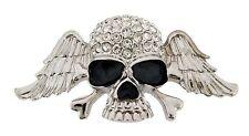 Men Skull Belt Buckle Silver Rhinestone Metal Fashion Gothic Tribal Tattoo Goth