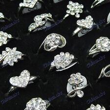 50pcs Top Czech Rhinestones White Gold Plated Women Rings Wholesale Jewelry Lots