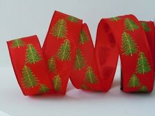 5yds Glitter Red Green Pine Tree Christmas Wedding Gifts Wrap Wired Ribbon