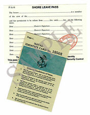 Ww2 Naval Identity Card and Shore Leave Pass (exact Copy)