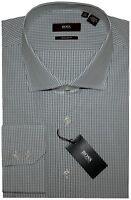 NEW HUGO BOSS WHITE W GREENISH GRAY GRID CUTAWAY COLLAR DRESS SHIRT 17 32/33