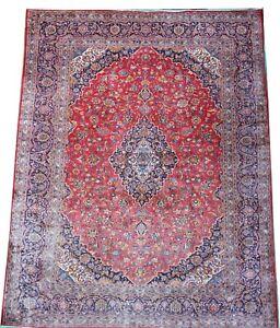 Oriental carpet old handmade wool room size K'ashan rug in red 13` x 9.8`