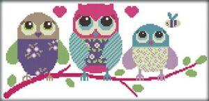 Cartoon Owl. 14CT counted cross stitch kit. Craft brand new