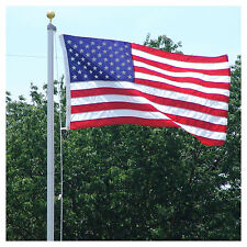 18 Ft Steel Flagpole W/ (1) 3'x5' U.S.Flag Plus (4) U.S. Antenna Flags (New)