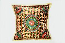 "Handmade Kantha 16""  CIRCLE  Cushion Cover Indian Cotton Pillow (27)"
