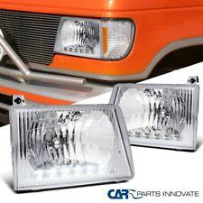 For 92-07 Ford E150 E250 E350 E450 Econoline Van Chrome Clear LED Headlights Set