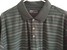 Nike Golf Fit Dry Men's Polo Shirt, 100% Polyester, Green/White Stripe Large
