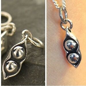 Sterling Silver Two Peas in a Pod Charm Necklace PeaPod Friendship Wedding 1055