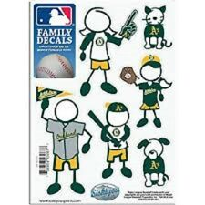 1 NEW 5'' x 7'' SHEET OF 6 MLB OAKLAND A'S FAMILY DECALS BASEBALL