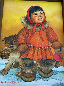 Original Oil Painting Joan Arend Kickbush 1970 Orange Inuit Girl Puppy Framed