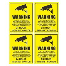 4PCS Surveillance Security Burglar Alarm Decal Window Warning Sticker Mark Signs