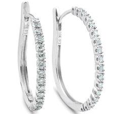 """1/2 CT Diamante Aros 10k oro blanco Pendientes de mujer de alto 1"""""""