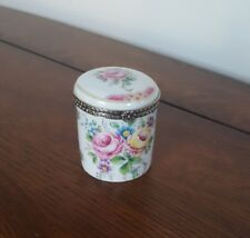 Limoges France Round Trinket Box- Roses