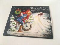 Vintage MOTORCYCLE POLICE Pop Up CHRISTMAS CARD Santa Sleigh Hit Parade of HUMOR