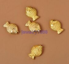 50pcs Tibetan Silver Charm Gold Fish Spacer Beads Accessories 11X8mm F3334