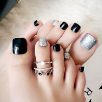 24Pcs Black False Glue On Fake French Natural Toe Nail Acrylic Toe Nail Tip TS