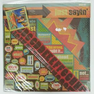 Colorbok Just Sayin Scrapbook Kit 12x12 Paper 140 Pieces Letters Phrases Words