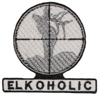 """ELKOHOLIC Elk Hunter Cross hair Scope Embroidered Iron/sew on Patch/Applique 3"""""""