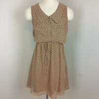 Sweet Storm Sz S Sleeveless Polka Dot Dress Ruffles Drawstring Waist