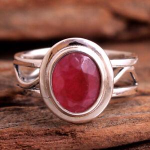 Kashmir Ruby Gemstone 925 sterling Silver Jewelry Handmade Ring Size US 8