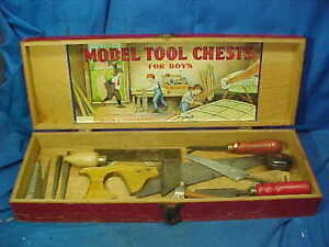 1920s BOYS MODEL TOOL CHEST by Mason + Parker Mfg Co w 12 TOOLS