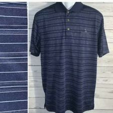 Pebble Beach Performance Polo Golf shirt Blue striped size M Mens Polyester