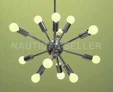 Mid Century 12 Arms Chrome Brass Sputnik chandelier starburst light Fixture
