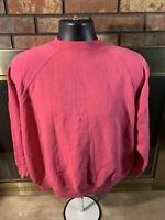 Vintage 90's Hanes Her Way Raglan Crew Neck Sweatshirt 50/50 Womens Size XL Pink