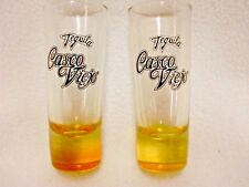 "LOT OF 2 TEQUILA CASCO VIEJO 4""  SHOT GLASSES SHOOTER YELLOW BASE"