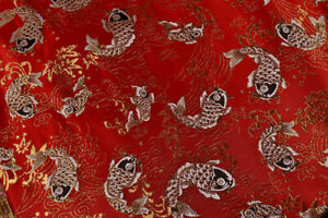 "56"" / 150CM WIDE SILK /COTTON DAMASK BROCADE FABRIC:VINTAGE JAPAN STYLE KOI FISH"