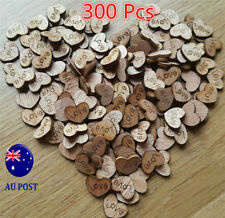 300pcs Rustic Wooden Love Heart Wedding Table Scatter Decoration Crafts MN