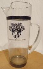 Vintage USMA Glass Martini Pitcher Shield of West Point