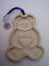 The Pampered Chef Mold Teddy Bear Pottery Clay Cookie Craft 1991 Bow Tie Heart