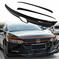 ABS Glossy Black Lip Front Grille Cover Moulding Trim For Honda Accord 2018 2019