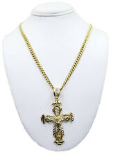 Men 10k Yellow Gold Miami Cuban Chain 22 Inch & Jesus Cross Pendant SET 100%Gold