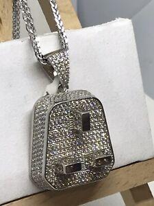 925 Sterling Silver Cubic Zirconia PLUG DESIGNED  PENDANT