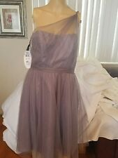 alfred angelo bridesmaid dress size 8 one shoulder sheer knee length NWTs