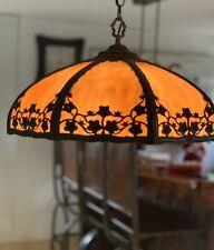 Antique Curved Slag Glass & Brass Hanging Lamp