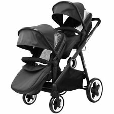 iSAFE Inline Tandem Pram Stroller Buggy With Second Seat & Rain Cover- Black