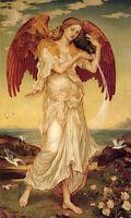 Handpainted Oil painting angel girl fairy holding bottle & birds in landscape