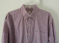 mens multi color PETER MILLAR dress shirt long sleeve plaid 100% cotton L LARGE