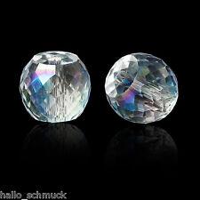30 Glas Perlen Beads zum Basteln Rund Transparent Facettiert 8mm JO